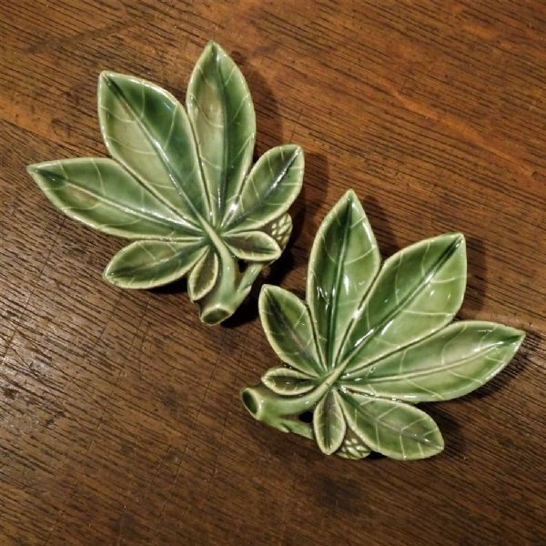 Two Wade Leaf Dishes